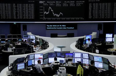 The German share price index, DAX board, is seen at the stock exchange in Frankfurt, Germany, March 15, 2018. REUTERS/Staff/Remote