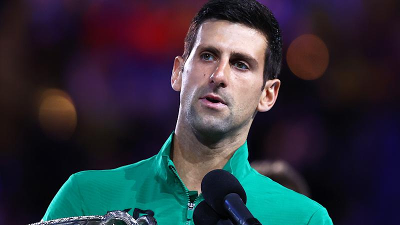 Novak Djokovic, pictured here speaking to the crowd after winning the Australian Open.