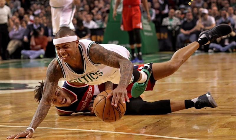 The season series between the Celtics and Wizards featured plenty of tough, physical play. (Barry Chin/The Boston Globe/Getty Images)