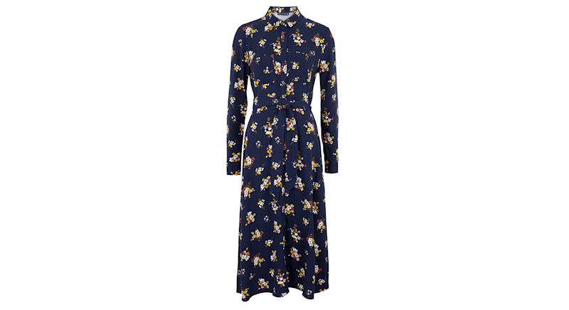 Floral Belted Midi Shirt Dress