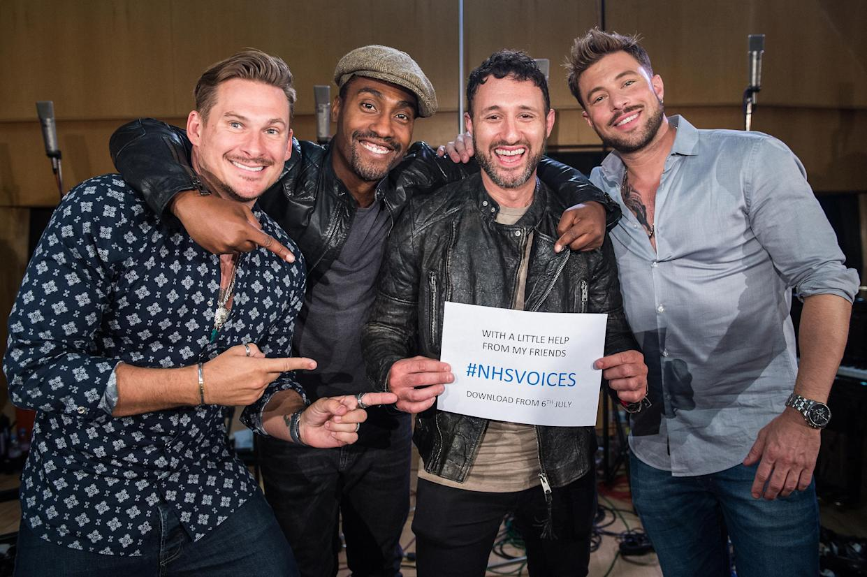 LONDON, ENGLAND - JUNE 14: Lee Ryan, Simon Webbe, Antony Costa and Duncan James of Blue during the recordings of NHS Voices charity single 'With A Little Help From My Friends' at Abbey Road Studios, June 14, 2018 in London, England. (Photo by Brian Rasic/WireImage)