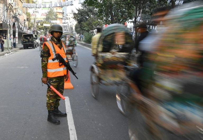 A heavy police presence was evident on the streets of the capital Dhaka ahead of the polls opening on Sunday