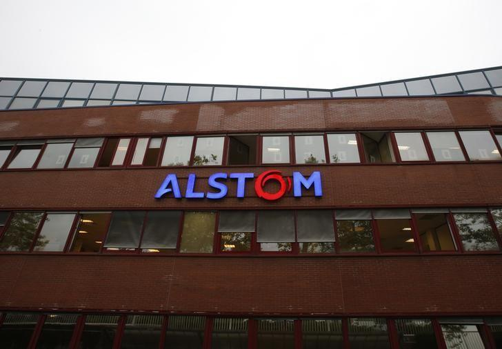 A logo is seen on the facade of the main plant of the French engineering giant Alstom SA in Belfort