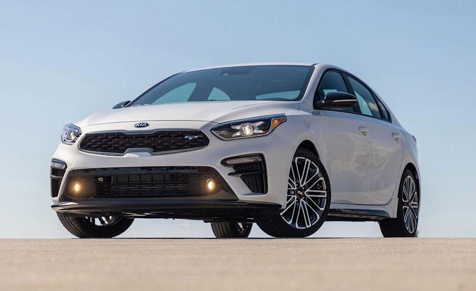 """<p>Kia and Hyundai are part of the same company, and the compact <a href=""""https://www.caranddriver.com/kia/forte"""" rel=""""nofollow noopener"""" target=""""_blank"""" data-ylk=""""slk:Forte"""" class=""""link rapid-noclick-resp"""">Forte</a> shares its chassis and powertrains with the similarly sized <a href=""""https://www.caranddriver.com/hyundai/elantra"""" rel=""""nofollow noopener"""" target=""""_blank"""" data-ylk=""""slk:Hyundai Elantra"""" class=""""link rapid-noclick-resp"""">Hyundai Elantra</a>. The two are even built on the same assembly line, but it's the Kia that gets the higher initial quality rating. </p><p>Redesigned last year, we've praised the 2020 Forte sedan for its low price, great fuel economy, and long list of standard features. For 2020, it's available in FE, LXS, GT-Line, EX and the new GT trim levels, but unlike the Elantra, it isn't offered as a hatchback. Most Fortes have the same 147-hp 2.0-liter four-cylinder and CVT automatic as most Elantras, however the base FE also offers a six-speed manual. At our test track, with the CVT, the Forte required 8.2 seconds to reach 60 mph. Not bad for this class.</p><p>A mechanical twin to the Elentra GT and N Line, the Forte GT gets the same 201-hp turbocharged 1.6-liter four-cylinder and either a six-speed manual or seven-speed dual-clutch automatic. The GT-Line has the looks of the high-performance GT model but is without the turbocharged engine and suspension upgrades.</p>"""