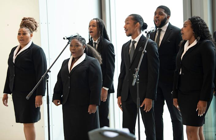 The Fisk Jubilee Singers perform during the  58th annual State of Metro address at the Music City Center Thursday, April 29, 2021 in Nashville, Tenn.