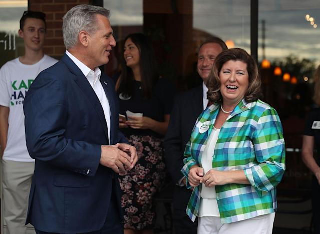 <p>House Majority Leader Rep. Kevin McCarthy speaks with Republican candidate Karen Handel during a campaign stop as she runs for Georgia's 6th Congressional District on June 19, 2017 in Alpharetta, Ga. (Photo: Joe Raedle/Getty Images) </p>