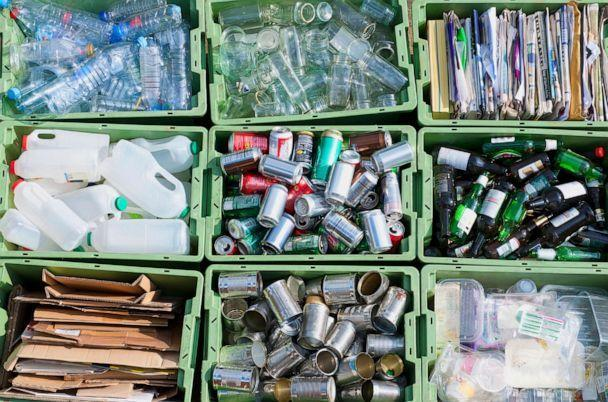 PHOTO: Recyclable materials organized by type in bins. (STOCK PHOTO/Getty Images)