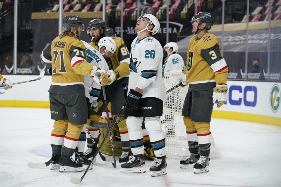 San Jose Sharks right wing Timo Meier (28) reacts after a play against the Vegas Golden Knights during the third period of an NHL hockey game Wednesday, April 21, 2021, in Las Vegas. (AP Photo/John Locher)