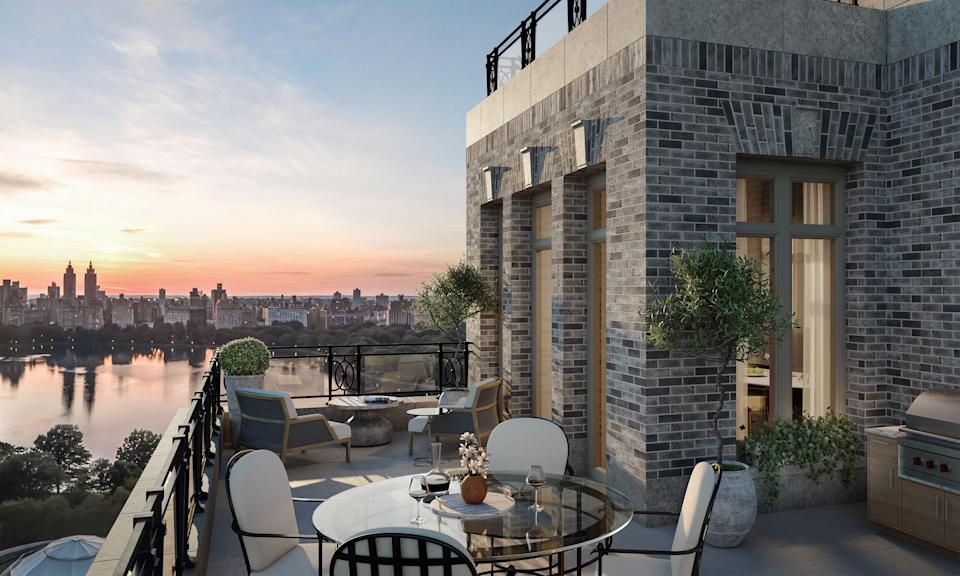 Terraces feature views of nearby Central Park.