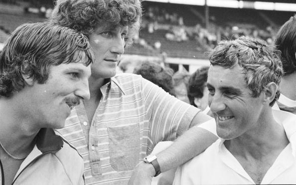14 Feb 1979:  (left to right) Ian Botham, Bob Willis and Mike Brearley after England's 5-1 series victory over Australia at the Sydney Cricket Ground in Sydney, Australia.   \ Mandatory Credit: Adrian Murrell /Allsport