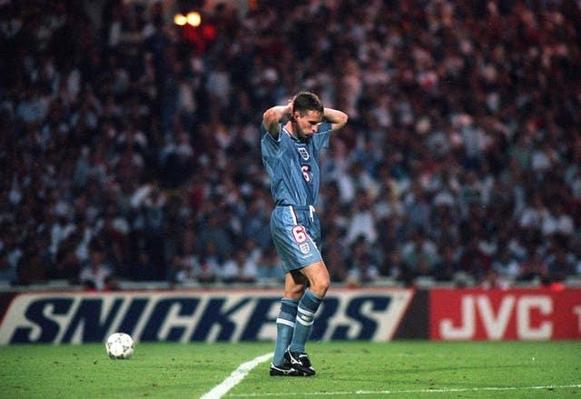 Gareth Southgate dejected after missing against Germany at Wembley in Euro 96 (PA)