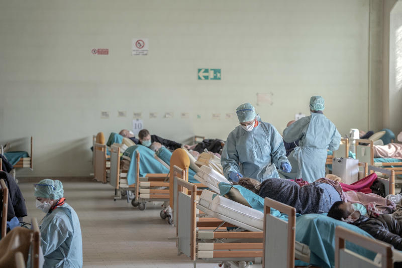 A makeshift emergency room in the northern city of Brescia on March 16, 2020, when Italy was the epicenter of the coronavirus pandemic. (Alessandro Grassani/The New York Times)