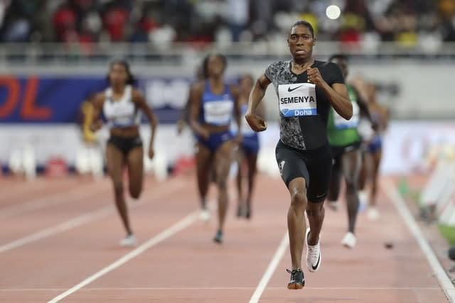 Caster Semenya on her way to a dominant victory in Doha (Kamran Jebreili/AP).