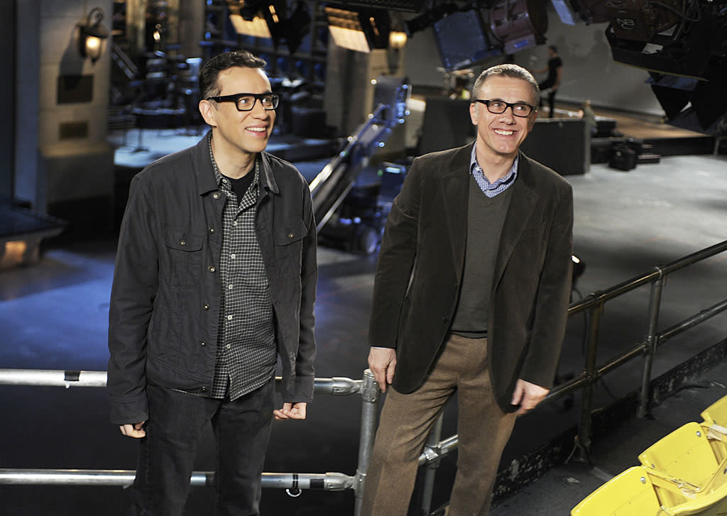"Christoph Waltz hosts the fourteenth episode of ""Saturday Night Live"" Season 38."