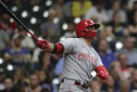 Cincinnati Reds' Joey Votto watches his two-run home run during the seventh inning of a baseball game against the Milwaukee Brewers, Monday, June 14, 2021, in Milwaukee. (AP Photo/Aaron Gash)