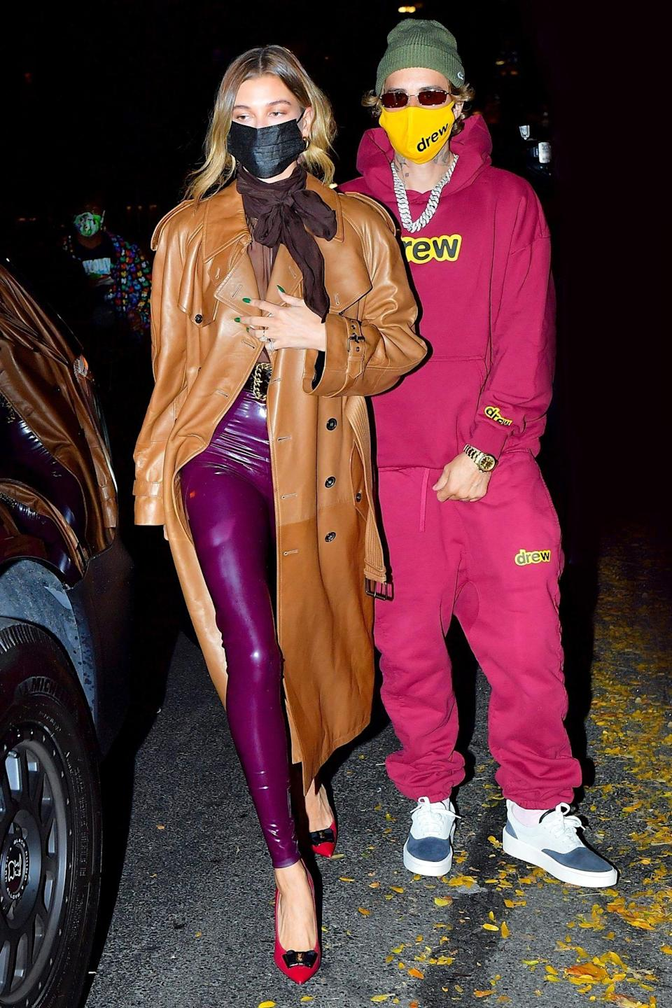 <p>Justin Bieber and Hailey Baldwin head to dinner in colorful outfits in N.Y.C. on Thursday. </p>