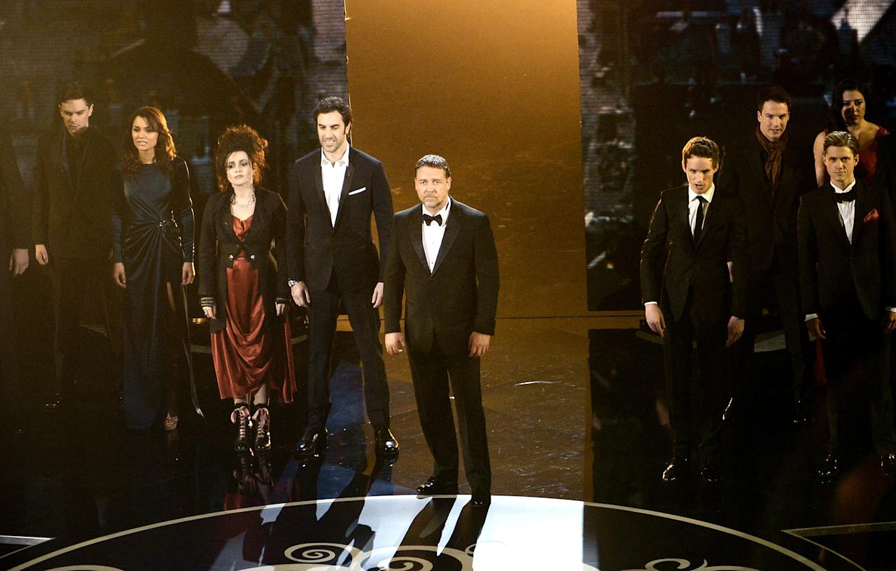 HOLLYWOOD, CA - FEBRUARY 24:  Actor Russell Crowe and the cast of Les Miserables perform onstage during the Oscars held at the Dolby Theatre on February 24, 2013 in Hollywood, California.  (Photo by Kevin Winter/Getty Images)
