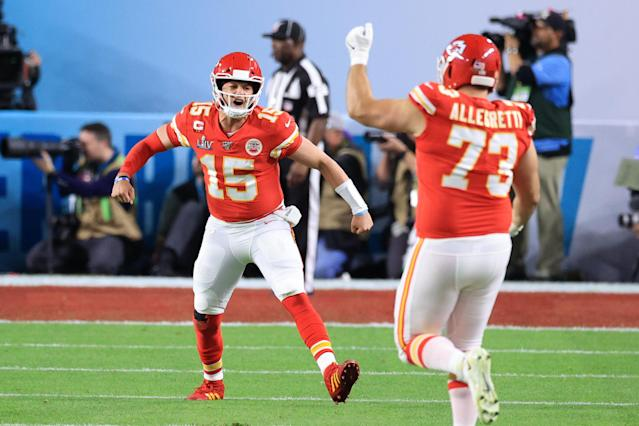 MIAMI, FLORIDA - FEBRUARY 02: Patrick Mahomes #15 of the Kansas City Chiefs reacts against the San Francisco 49ers during the first quarter in Super Bowl LIV at Hard Rock Stadium on February 02, 2020 in Miami, Florida. (Photo by Andy Lyons/Getty Images)