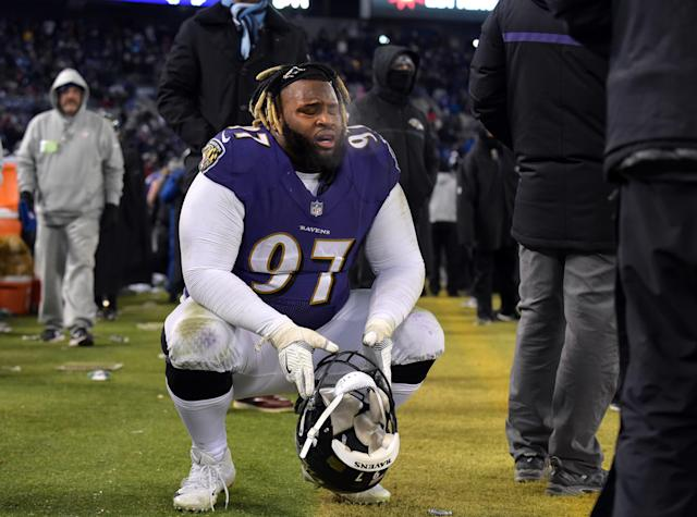 "<a class=""link rapid-noclick-resp"" href=""/nfl/players/29759/"" data-ylk=""slk:Michael Pierce"">Michael Pierce</a> was pulled from the <a class=""link rapid-noclick-resp"" href=""/nfl/teams/baltimore/"" data-ylk=""slk:Ravens"">Ravens</a>' minicamp on Tuesday after he showed up out of shape. (Lloyd Fox/Baltimore Sun/Getty Images)"