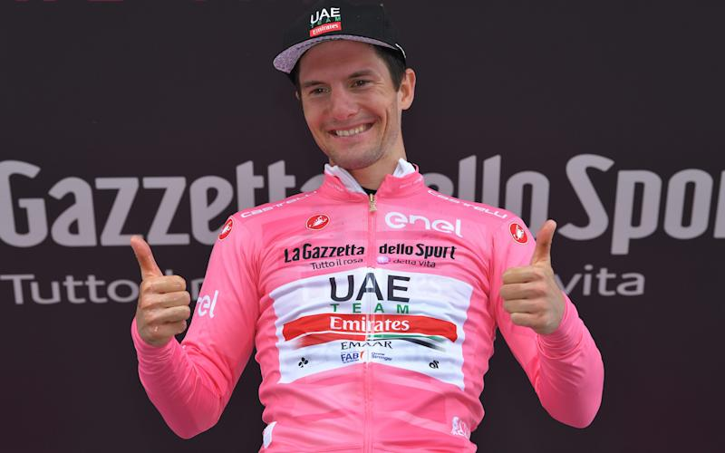 Jan Polanc kept his leader's pink jersey for another day following a strong ride - 2019 Getty Images