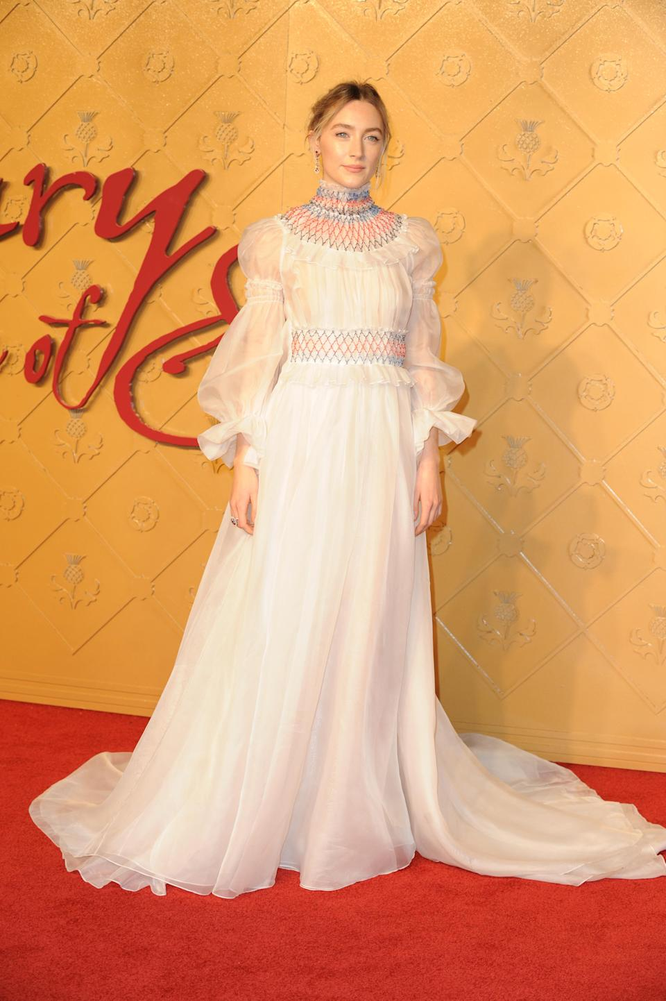 <p>The Irish-born star wowed in a Carolina Herrera gown. <em>[Photo: Getty]</em> </p>