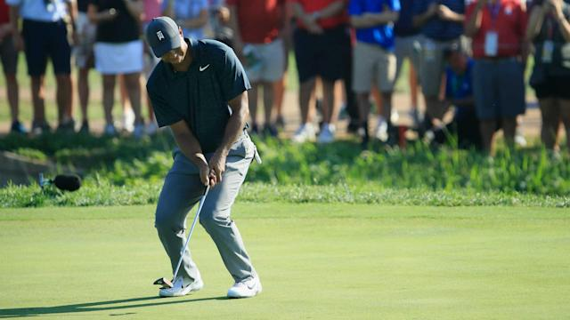 Tiger Woods' bid to end his 10-year wait for a major win at the US PGA Championship got off to a rocky bogey-double bogey start.