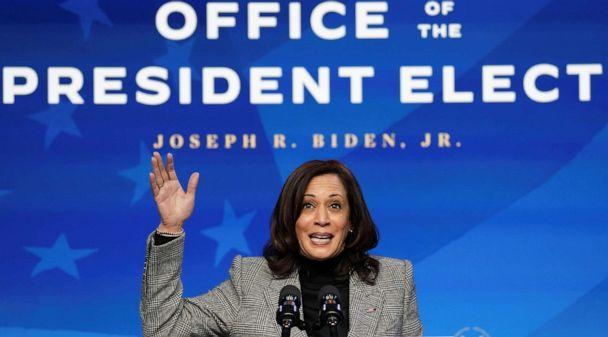PHOTO: Vice President-elect Kamala Harris speaks after President-elect Joe Biden introduced key members of his White House science team at his transition headquarters in Wilmington, Delaware, Jan. 16, 2021. (Kevin Lamarque/Reuters)