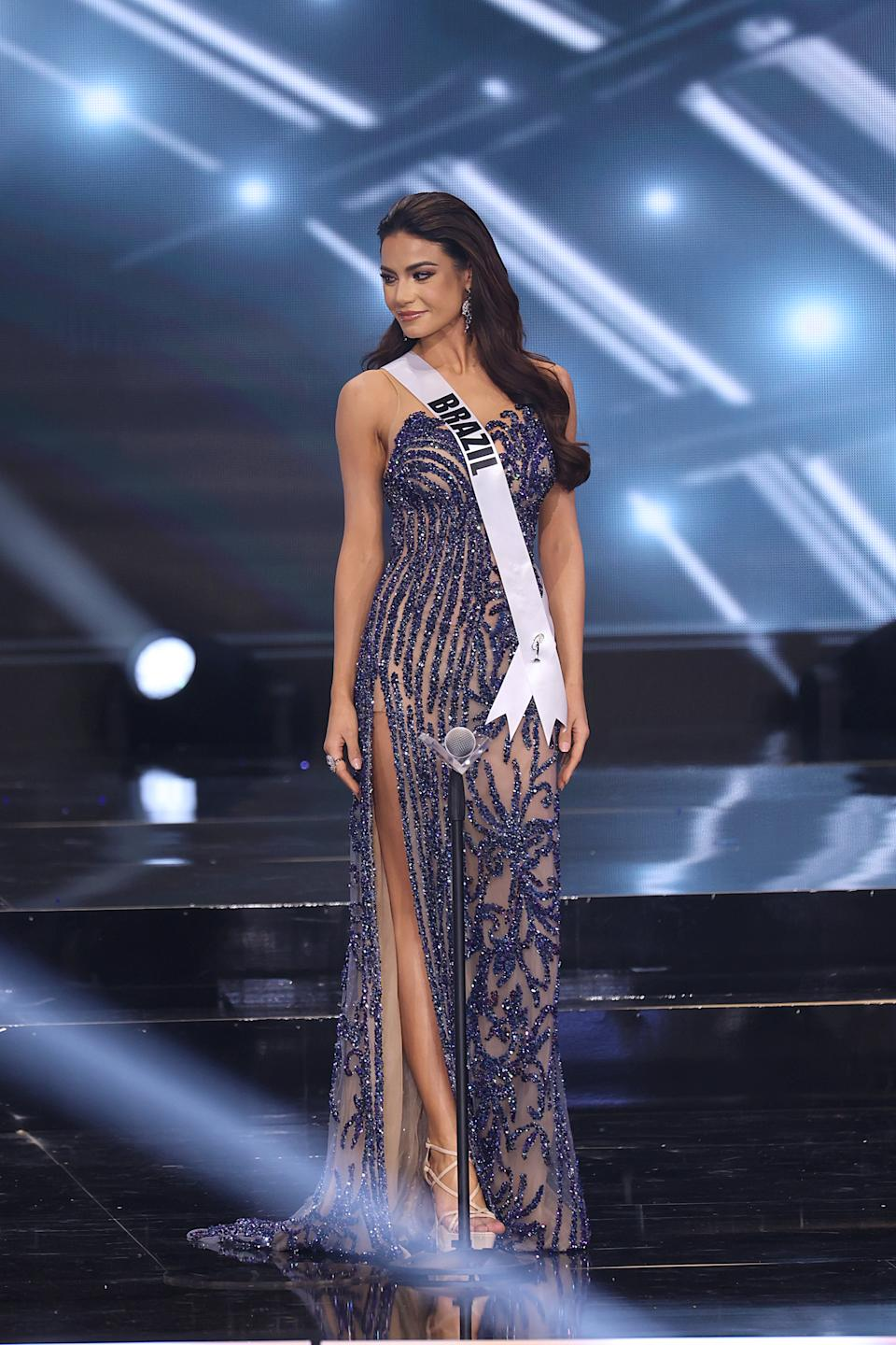 HOLLYWOOD, FLORIDA - MAY 16: Miss Universe Brazil Finalist Julia Gama appears onstage at the Miss Universe 2021 Pageant at Seminole Hard Rock Hotel & Casino on May 16, 2021 in Hollywood, Florida. (Photo by Rodrigo Varela/Getty Images)