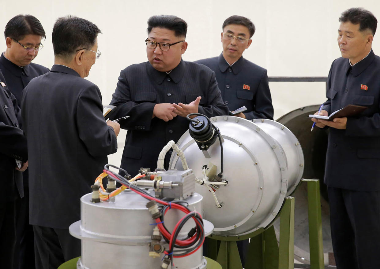This undated image shows North Korean leader Kim Jong Un at an undisclosed location inspecting nuclear warheads. (Korean Central News Agency/Korea News Service via AP, File)