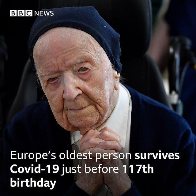 "<p>A French woman, believed to be the oldest person in Europe at 116, has overcome Covid-19.</p><p>According to the BBC, the nun Sister Andre didn't have any symptoms but received a positive test. After isolating in Toulon she has fully recovered, just days before she celebrates her 117th birthday.</p><p><a href=""https://www.instagram.com/p/CLG_Vp_s4yx/"" rel=""nofollow noopener"" target=""_blank"" data-ylk=""slk:See the original post on Instagram"" class=""link rapid-noclick-resp"">See the original post on Instagram</a></p>"
