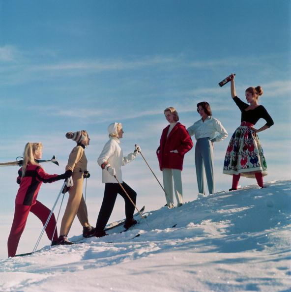 <p>A party of young women gear up for an après ski fit to combat the cold in January 1955.</p>