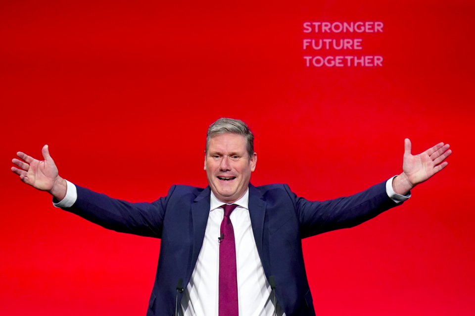 Sir Keir Starmer was heckled as he made his first in-person Labour conference speech as leader. (PA)