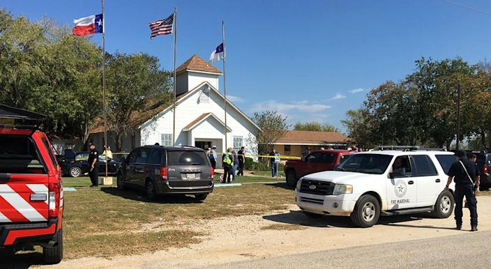 Emergency personnel respond to a mass shooting at a church in Sutherland Springs, Texas, on Sunday. (KSAT via AP)
