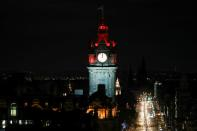 A clock face at the Balmoral Hotel is seen at midnight, following the end of the Brexit transition period, in Edinburgh