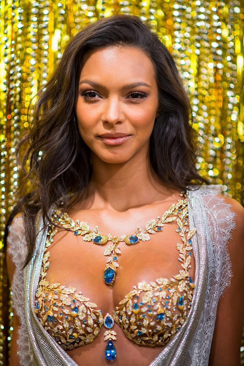 Victoria's Secret Angel Lais Ribeiro reveals the 2017 Champagne Nights Fantasy Bra on Nov. 1, 2017 in New York City.