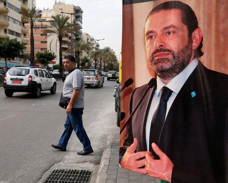 A poster depicting Saad al-Hariri, who has resigned as Lebanon's prime minister is seen in Beirut, Lebanon, November 13, 2017. REUTERS/Mohamed Azakir