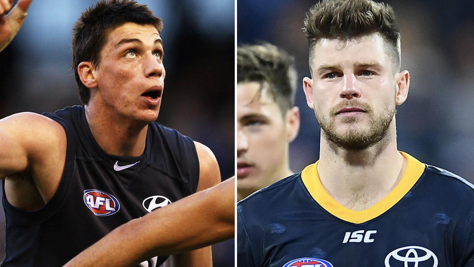 Matthew Kreuzer and Bryce Gibbs, pictured here in action in the AFL.