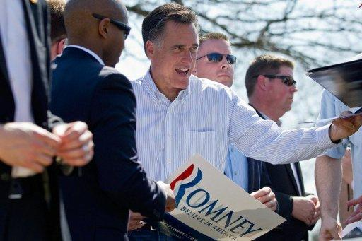 <p>Republican presidential candidate Mitt Romney greets supporters during a campaign stop in Kirkwood, Missouri. He is locked in a three-way fight for dominance as key Southern states vote.</p>