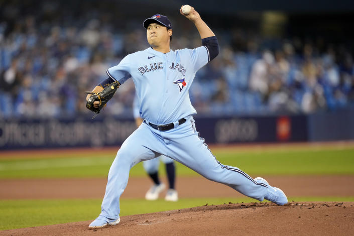 Toronto Blue Jays starting pitcher Hyun Jin Ryu throws against the Baltimore Orioles during first-inning baseball game action in Toronto, Sunday, Oct. 3, 2021. (Frank Gunn/The Canadian Press via AP)