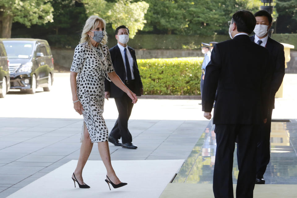 First Lady Jill Biden arrives at Imperial Palace - Credit: AP.