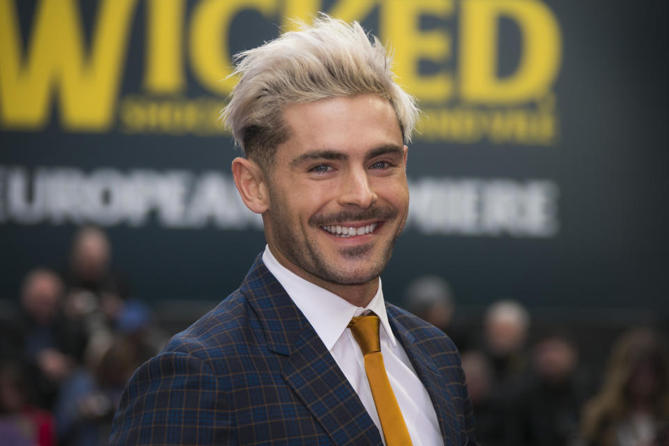 Actor Zac Efron poses for photographers upon arrival at the 'Extremely Wicked, Shockingly Evil And Vile' premiere in London, Wednesday, April 24, 2019. (Photo by Joel C Ryan/Invision/AP)
