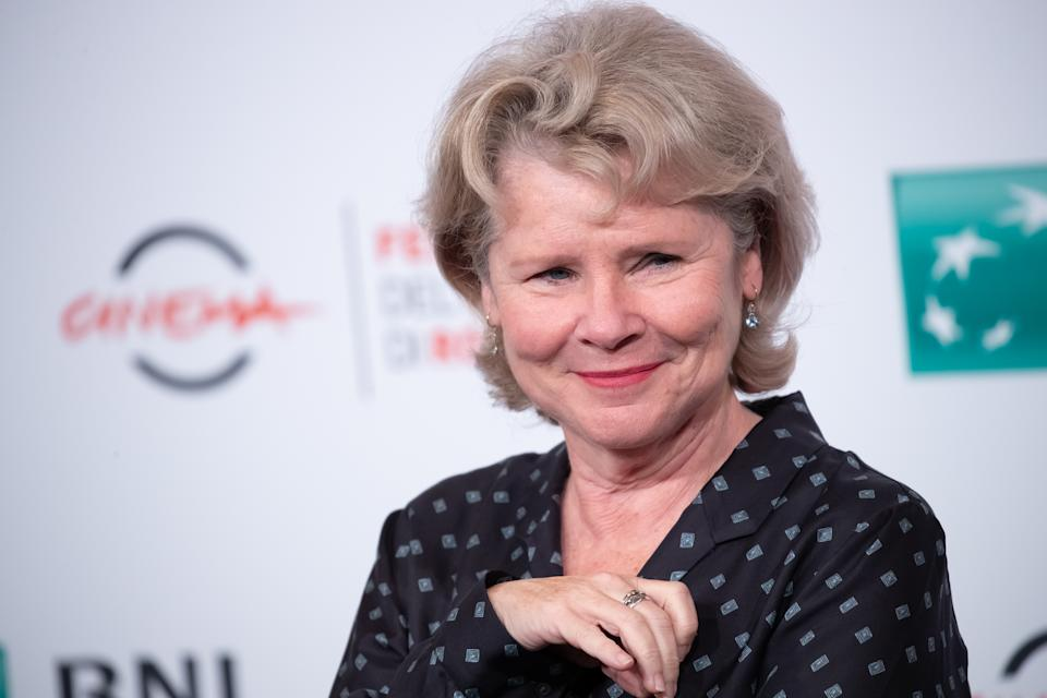 Imelda Staunton attends the photocall of the movie ''Downton Abbey'' during the 14th Rome Film Festival on October 19, 2019 in Rome, Italy. (Photo by Mauro Fagiani/NurPhoto via Getty Images)