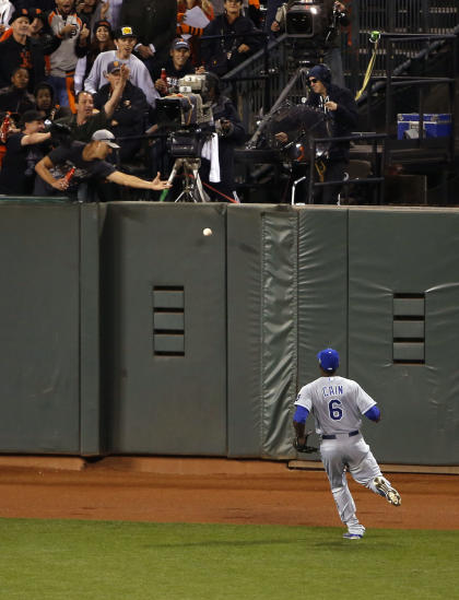 Lorenzo Cain could only watch Juan Perez's double hit off the wall. (USA Today)