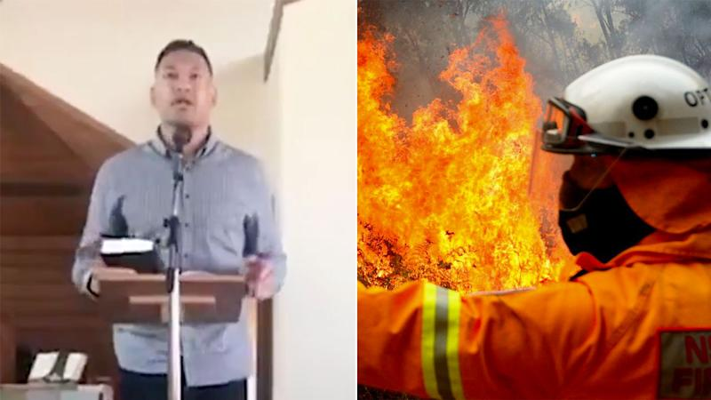 Israel Folau's latest sermon has linked Australia's deadly bushfires with same-sex marriage.
