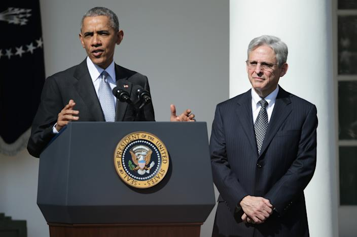 U.S. President Barack Obama (L) stands with Judge Merrick B. Garland, while nominating him to the US Supreme Court, in the Rose Garden at the White House, March 16, 2016 in Washington, DC. (Chip Somodevilla/Getty Images)