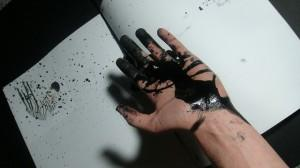 Hand stained with printer ink