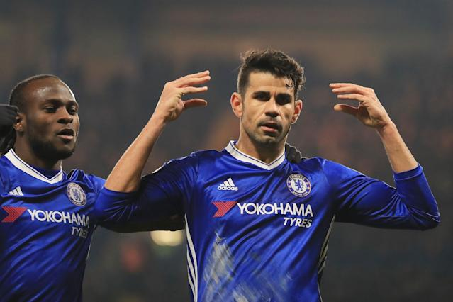 <p>Costa sends a message to onlookers after scoring for the Blues on his return. </p>
