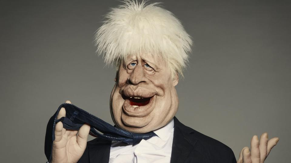 Prime Minister Boris Johnson as a 'Spitting Image' puppet. (Avalon/BritBox)