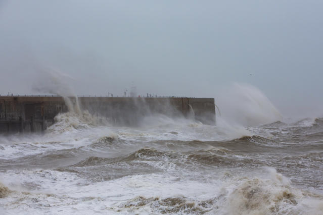 Waves cresting over Folkstone Harbour Arm as Storm Ciara swept in on Sunday (Picture: Getty Images)