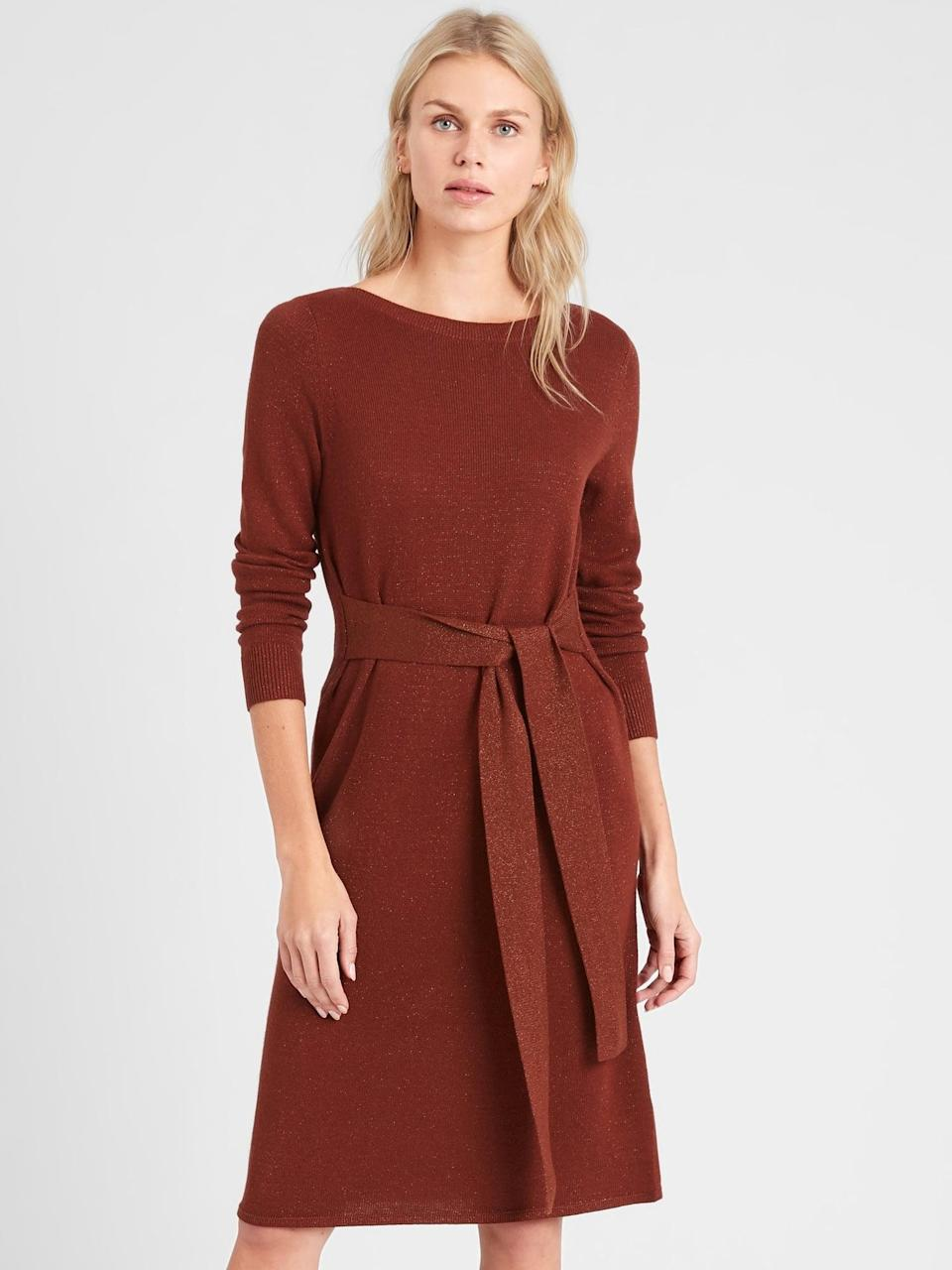 <p>I love the earthy shade of this <span>Lurex Belted Sweater Dress</span> ($70, originally $100).</p>